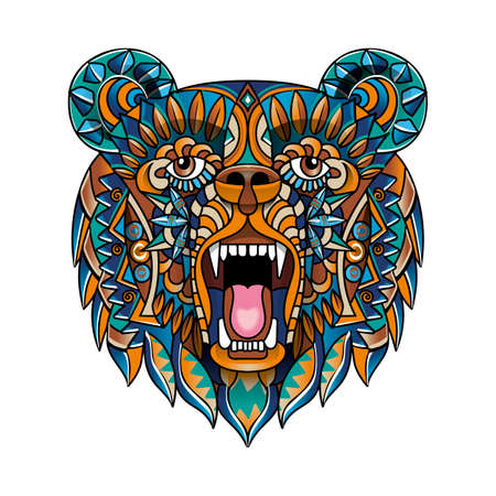 Ethnic pattern in the form of a bears head. An animal with an open mouth. Color Doodle vector illustration. Sketch for a tattoo, poster, print, or t-shirt.
