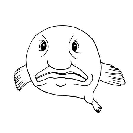 Blobfish, funny deep-sea fish. Vector illustration in Doodle style.