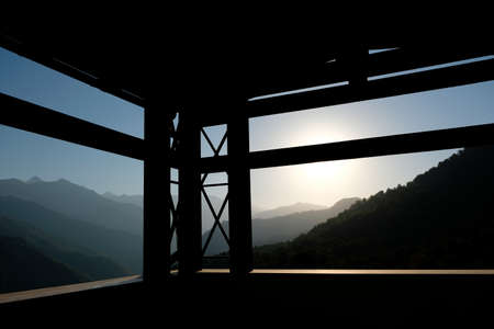 View of the sunrise on a Foggy summer day on the balcony of a guest house in Sochi, Russia.