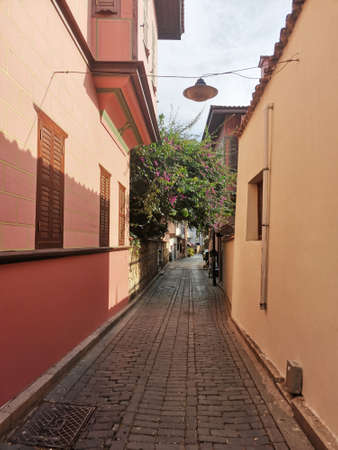 Old and narrow streets. Mediterranean street style. Colourful streets of Antalya in the southern Turkey.