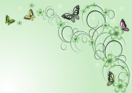 abstract butterfly: floral background