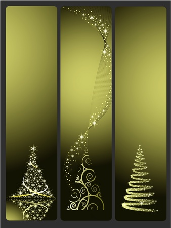 Three  vector banners with gold Christmas tree Vector