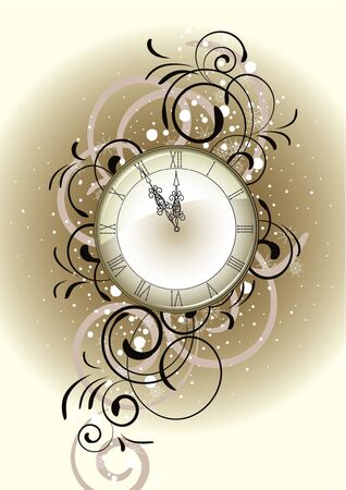 Christmas romantic design with antique clock Vector