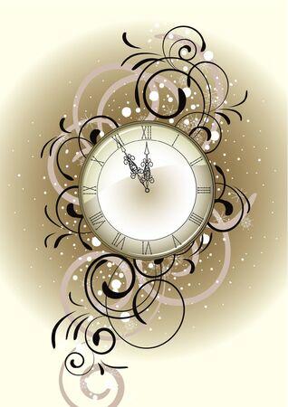 Christmas romantic design with antique clock Vector