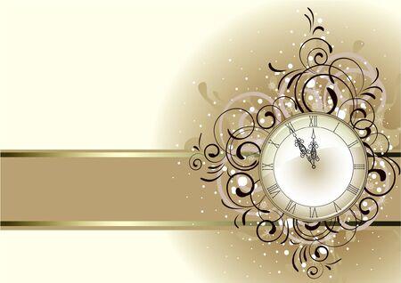 antique: Christmas romantic design with antique clock