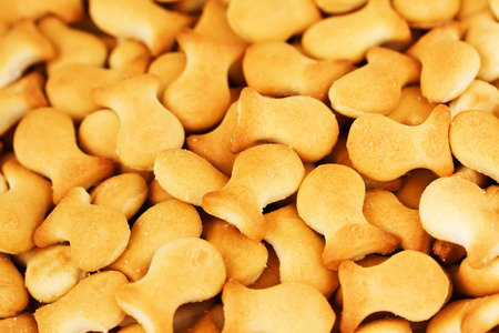 Closeup fish crackers background Reklamní fotografie