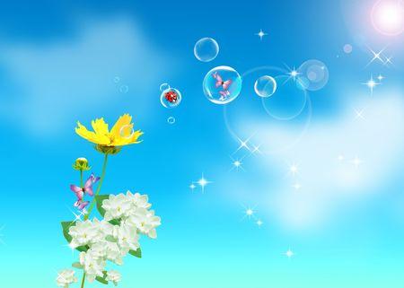 Flowers, blue sky and sun photo