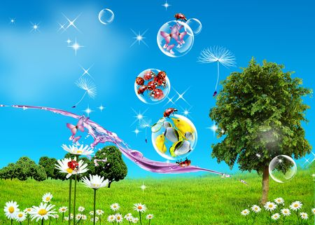 Green Field, blue sky and fishes in woter drops photo