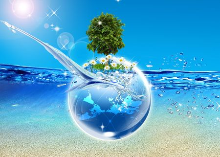 Earth and tree in the blue sea photo
