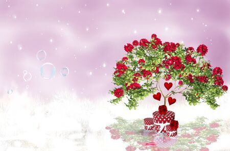 Romantic Rouses on a background red sky with snow photo