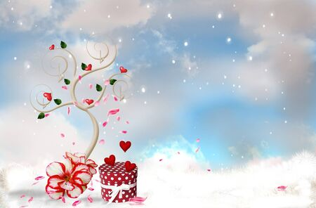 Romantic tree on a background blue sky with snow photo