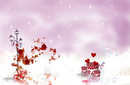 Romantic Rouses on a background red sky with snow Stock Photo - 9549322