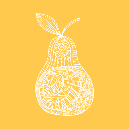 Isolated hand drawn white outline pear on yellow background. Ornament of curve lines