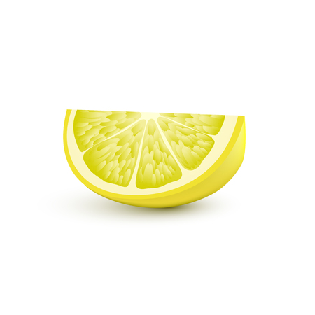 Isolated realistic colored slice of juicy yellow color lemon with shadow on white background.