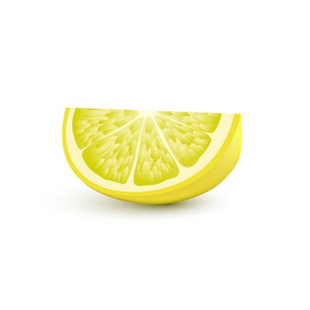 Lokalisierte realistische farbige Scheibe der saftigen gelben Farbzitrone mit Schatten auf weißem Hintergrund.