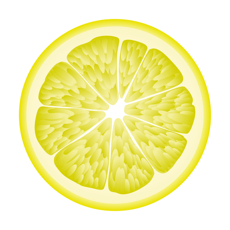 Isolated circle of juicy yellow color lemon on white background. Realistic colored round slice Illustration