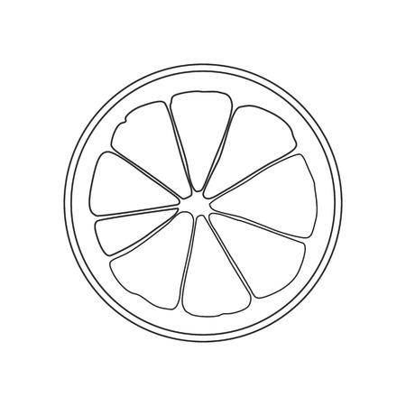 Isolated black outline round slice of citrus: lemon, orange or grapefruit on white background