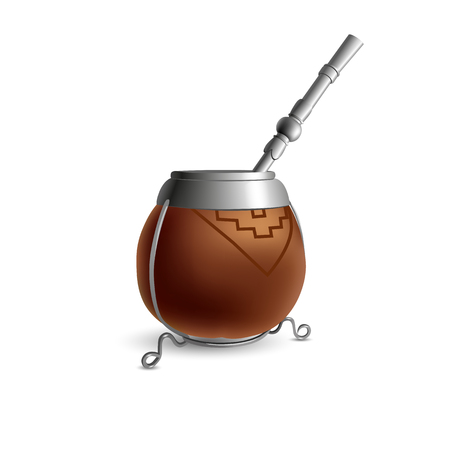 Isolated colored realistic brown calabash for yerba mate, paraguay tea with prop and metal syphon stick bombilla with shadow on white background