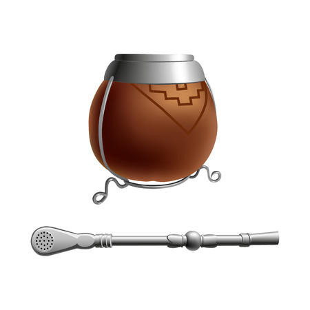 Isolated colored realistic brown calabash for yerba mate, paraguay tea with prop.