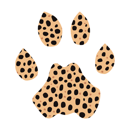 clutch: Isolated footprint of cheetah with skin print on white background. Illustration