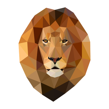 Isolated head of lion composed of triangles on white background.