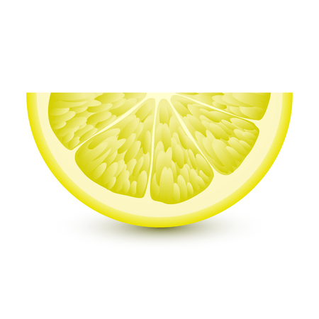 pulp: Isolated half of circle juicy yellow color lemon with shadow on white background.