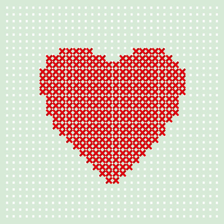 intact: Red heart embroider by thread on turquoise background. Cross stitching on canvas Illustration