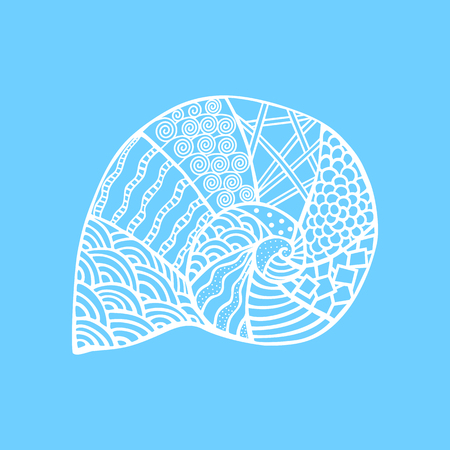 Isolated hand drawn white outline shell on blue background. Ornament of curve lines Illustration