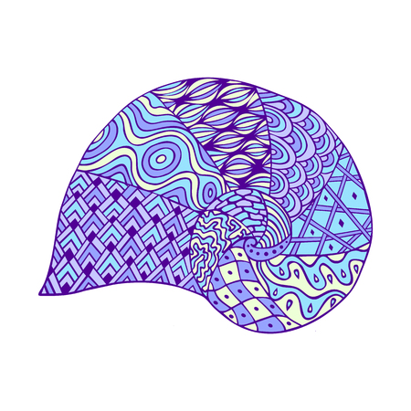 Isolated hand drawn outline blue violet colored sea shell on white background. Ornament of curve lines