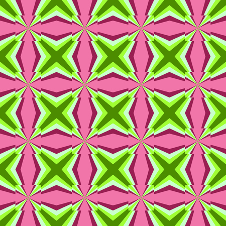 Seamless colored contrast geometric pattern with green stars or cross on pink color background