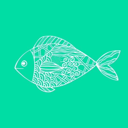 Isolated hand drawn white outline fish on sea green background. Ornament of curve lines Illustration