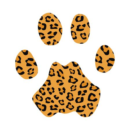 Isolated footprint of leopard with skin print on white background
