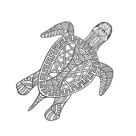 Isolated hand drawn black outline turtle on white background. Ornament of curve lines 向量圖像