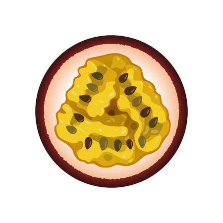 Isolated realistic colored circle round slice of purple color juicy passion fruit on white background