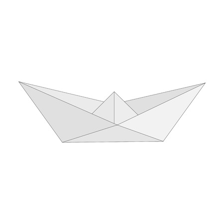 folded paper: Isolated figure of boat, ship folded from white paper in origami style on white background