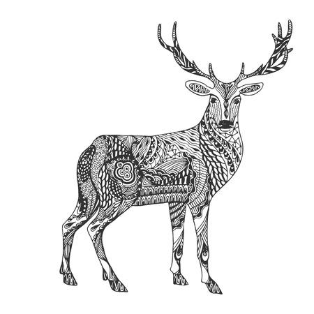 Ciervos Ornamentales Abstractos Monocromáticos Dibujados Mano Negra ...
