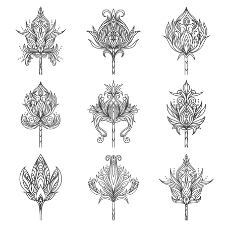 Set, collection of isolated hand drawn black outline monochrome ornate flowers on white background. Ornament of curve lines