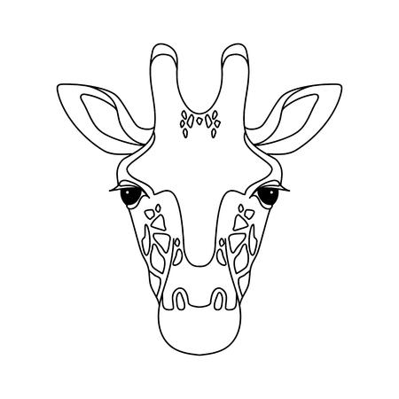 Geïsoleerd zwart overzichtshoofd van giraf op witte achtergrond. Lijn cartoon gezicht portret