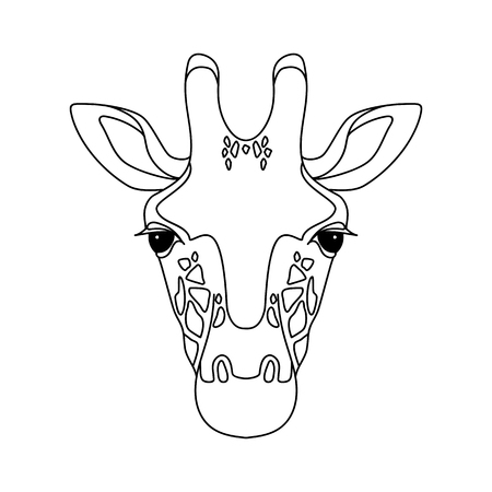 Isolato testa nera di giraffa su sfondo bianco. Ritratto di faccia del fumetto di linea Archivio Fotografico - 80342734