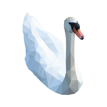 Isolated white swan composed of triangles on white background. Colored polygonal geometric hooper