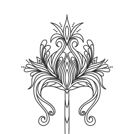 Isolated hand drawn black outline monochrome abstract ornate flower on white background. Ornament of curve lines