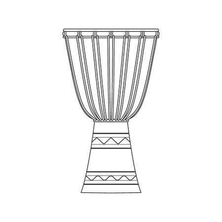 Geïsoleerde decoratieve overladen djembe op witte achtergrond. Black outline muziekinstrument
