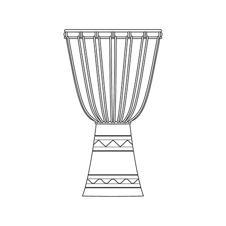 Isolated decorative ornate djembe on white background. Black outline musical instrument