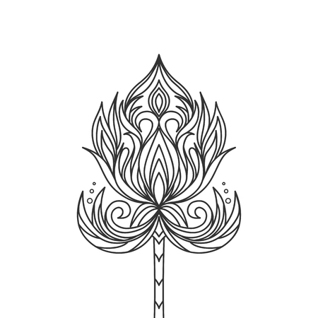 Isolated hand drawn black outline monochrome ornate flower on white background. Abstract ornament of curve lines Ilustracja