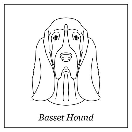 Isolato testa di contorno nero di basset hound su sfondo bianco. Ritratto di cane da razza del fumetto di linea Archivio Fotografico - 80406734