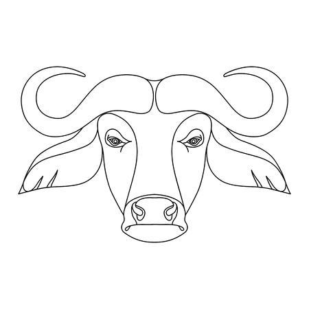 Isolated black outline head of buffalo on white background. Line cartoon face portrait Stock Illustratie