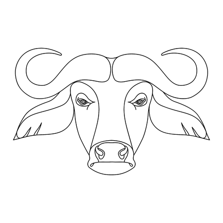 Isolated black outline head of buffalo on white background. Line cartoon face portrait Vettoriali