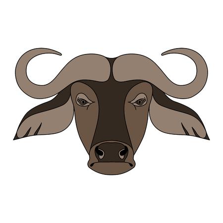 Geïsoleerde kop van buffels op witte achtergrond. Gekleurde cartoon gezicht portret