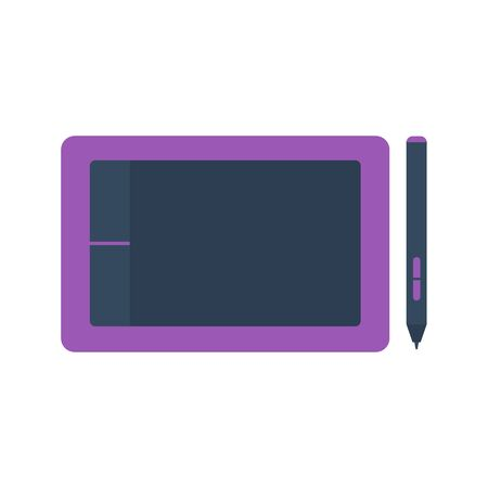 Isolated colored purple graphic tablet with stylus on white background. Flat design icon