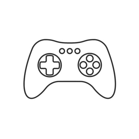 Isolated black outline gamepad, game controller, joystick, console on white background. Line icon Illustration
